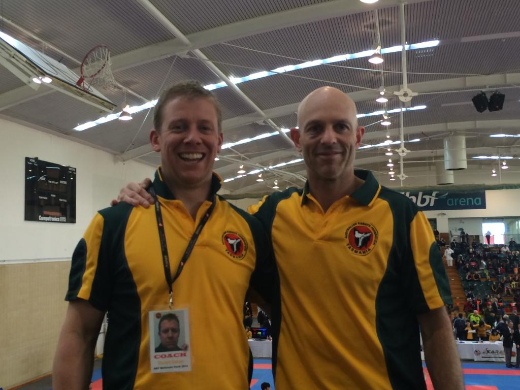 Sensai Stuart and Sempai Andrew at the National Karate Championships in Perth
